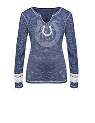 VF LSG Women's NFL Long Sleeve Split Crew Neck Tee - Blue S/White - Size:S