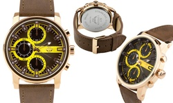 NY London Fenrir Men's Watch 62627920 - Brown Band-Black Yellow Dial