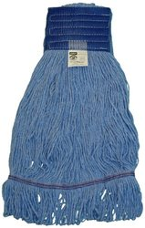 """Zephyr 28254 HC/Blend Blue 4-Ply Yarn X-large Health Care Loop Mop Head with 5"""" Mesh Wide Band (Pack of 12)"""