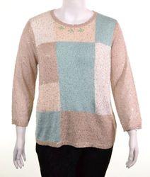 Alfred Dunner Women's Tivoli Garden Sequins Sweater - Mint/Taupe - Size: L