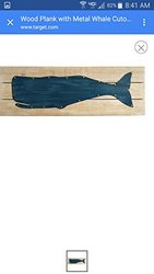 "Target Wood Plank with Metal Whale Cutout - Size: 30""x10"""