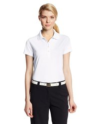 Callaway Women's Solid Double Knit Short Sleeve Polo Shirt - Bright White - Size: XL
