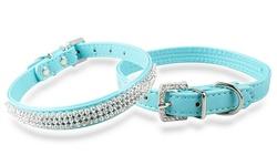 Rhinestone Bling Dog Collar Necklace - Blue - Size: Large