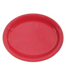 """CAC China 13 1/4""""Oval Platter - 12 Count - Red"""