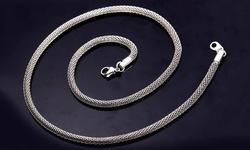 Ventura Jewellery Women's Popcorn Necklace in 18K White Gold Plating