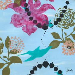 Greenbox Art + Culture Blue Hawaii Turquoise Hummingbird Stretched Canvas Wall Art by Jennifer Kiraly, 14 by 14-Inch