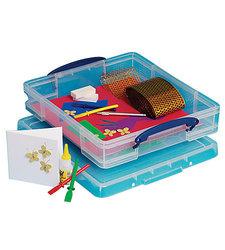 "Really Useful 7 Liters 15-1/2""x 13-1/2""x 3-1/4"" Plastic Storage Box- Clear"
