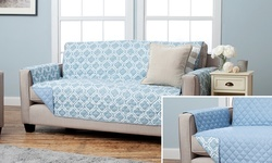"75""x110"" Reversible Sofa Protector - Lattice Marine Blue"