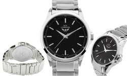 NY London Uptown Men's Bracelet Watch - Silver Band Black Dial