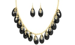 So Chik Jewels Women's 18K Gold Cross-Charm Necklace & Earring Set - Black