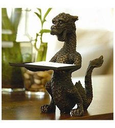 """SPI 6 1/4"""" Tall Iron Dragon Business Card Holder with Bronze Finish"""