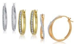 Kiran Women's 1.10CT Sterling Silver Diamond Hoop Earrings - 14K Gold