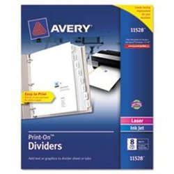 "Avery Print-On Dividers 8-Tab 3-Hole Punched 1/Pk - White - Size:8.5""x11"""