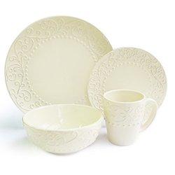 Bianca 16-Piece Dinnerware Set - Cream - Round Leaf Design