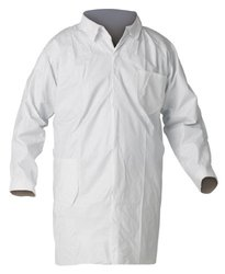 Kimberly-Clark KleenGuard A40 Microporous Film Laminate Liquid and Particle Protection Lab Coat with Chest and Hip Pocket, Medium, White (Case o