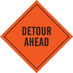 "Brady 56767 Mesh Roll-Up Signs, 48"" X 48"", Legend ""Detour Ahead"""