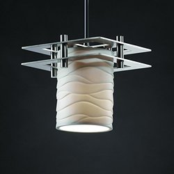 Limoges 1-Light Pendant with Waves Translucent Porcelain Shade