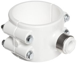 """Spears 467E-SR Series PVC Clamp-On Saddle with EPDM O-Ring, Zink Bolt, Stainless Steel Reinforced Outlet, Schedule 40, White, 8"""" IPS OD x 2"""" NPT Female"""