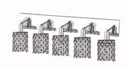 Elegant Lighting 1385W-O-R-SA/RC Mini 13.5-Inch High 5-Light Wall Sconce, Chrome Finish with Sapphire (Blue) Royal Cut RC Crystal