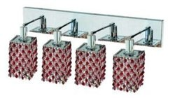 Elegant Lighting 1384W-O-S-BO/RC Mini 13.5-Inch High 4-Light Wall Sconce, Chrome Finish with Bordeaux (Red) Royal Cut RC Crystal