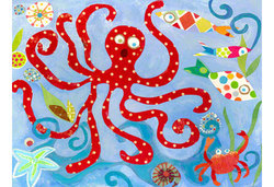 "Oopsy Daisy 24"" x 18 "" Red Octopus Canvas Wall Art by Carter Carpin"