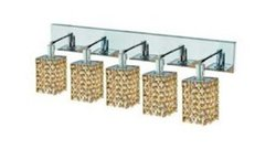 Elegant Lighting 1385W-O-S-LT/RC Mini 13.5-Inch High 5-Light Wall Sconce, Chrome Finish with Light Topaz (Yellow) Royal Cut RC Crystal