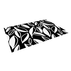 "Kess InHouse Emine Ortega ""Leaving Black and White"" Outdoor Floor Mat/Rug, 5 by 7-Feet"