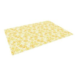 "Kess InHouse Julie Hamilton ""Paper Daisy"" Yellow Outdoor Floor Mat/Rug, 5 by 7-Feet"