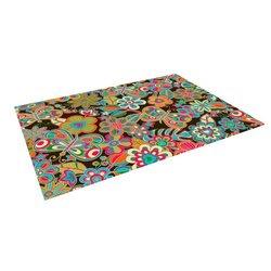 """Kess InHouse Julia Grifol """"My Butterflies and Flowers"""" Outdoor Floor Mat/Rug, 5 by 7-Feet"""