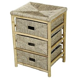25.9-inch 3-Drawer Bamboo Open Frame Cabinet with Seagrass Weave - Natural