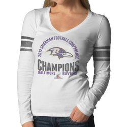 NFL Baltimore Ravens Women's 2012 AFC Champs Shirt - White Wash - Size: M
