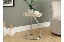 """Monarch 35.75"""" Curved Chrome-Look Accent Table - Natural"""