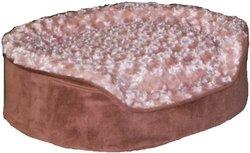 Pampered Pets Oval Pet Bed, Medium, Camel with Beige Petal Fur