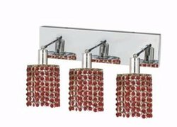Elegant Lighting 1283W-O-R-BO/RC Mini 8-Inch High 3-Light Wall Sconce, Chrome Finish with Bordeaux (Red) Royal Cut RC Crystal