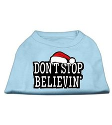 "Mirage Pet ""Don't Stop Believin"" Ptinted Shirts - Baby/Blue - Size: 16"