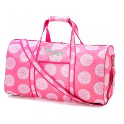 aBaby Pink Maddie Large Duffel, Name: Piper
