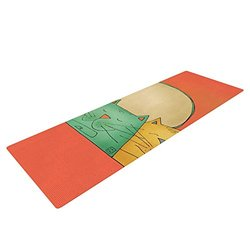 "KESS InHouse Carina Povarchik 2 Gatos Romance Exercise Yoga Mat, Love Cats, 72"" by 24"""