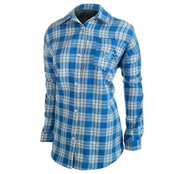 NFL Detroit Lions Women's Wordmark Basic Flannel Shirt - Blue - Size: XL