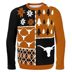 KLEW NCAA Texas Longhorns Busy Block Ugly Sweater, XX-Large, Orange