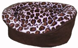 Pampered Pets Oval Pet Bed, Large, Brown Suede with Pink-Brown Animal Print