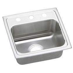"""Elkay LRAD1716653 Lustertone 6-1/2"""" Drop-In Single Bowl 3 Hole Stainless Steel Sink"""
