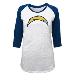 NFL Juniors San Diego Chargers 3/4 Scoop Raglan Tee - White - Size: M