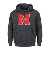 NCAA Nebraska University Men's CES College Long Sleeve Hooded Fleece Pullover, Medium, Charcoal Heather
