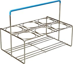 """Carlisle CW6C38 OptiClean Heavy Gauge Steel Wire 6-Compartment Portable Carrier, 15.51"""" L x 10.12"""" W x 11-1/4"""" H, Chrome (Case of 6)"""