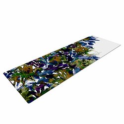 "KESS InHouse Ebi Emporium ""Floral Cascade 4"" Yoga Exercise Mat, 72"" x 24"", Purple/Green"