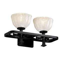 Justice Design Group Lighting GLA856236WHTWMBLK  Veneto Luce Arcadia 2-Light Bath Bar, Matte Black