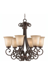 Triarch 31433 6 Light Corsica Chandelier, English Bronze
