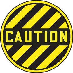 "Accuform Signs MFS779 Slip-Gard Adhesive Vinyl Round Floor Sign, Legend ""CAUTION"", 17"" Diameter, Black/Yellow"