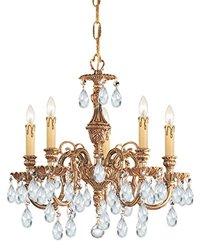 Crystorama-Six Light Olde Brass Up Chandelier-2706-OB-CL-SAQ
