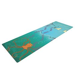 "KESS InHouse Famenxt Octopus Flying Manta Rays Exercise Yoga Mat, Teal Green, 72"" by 24"""